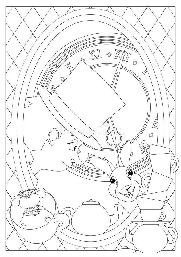 Página da coloração Alice no país das maravilhas Tea party louco ilustração do vetor