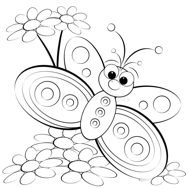 Página da coloração - borboleta e margarida ilustração do vetor