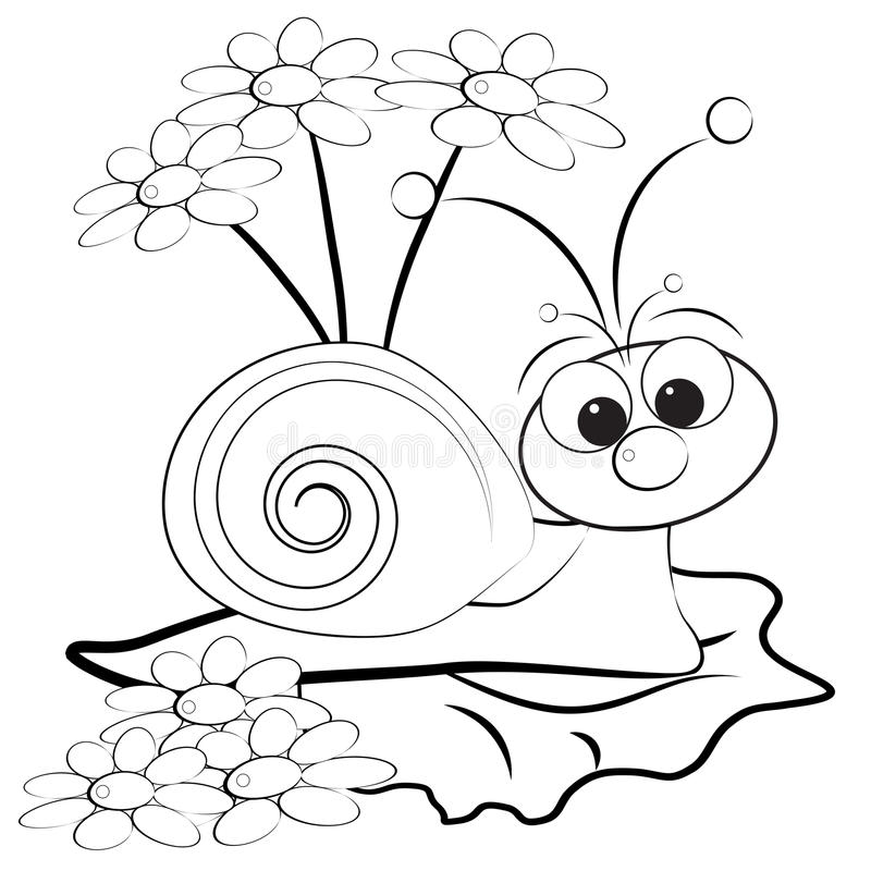 Página da coloração - caracol e margarida ilustração royalty free