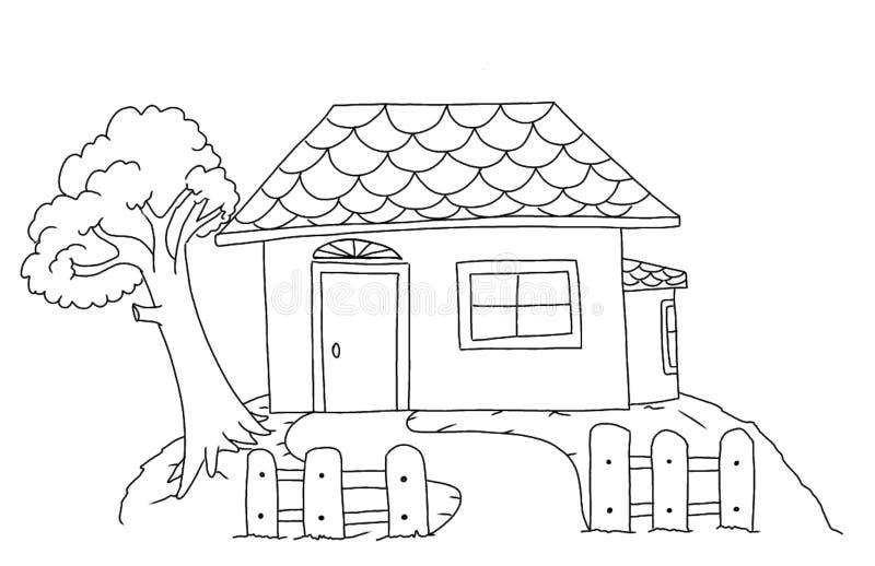 Página da coloração da casa para crianças ilustração stock