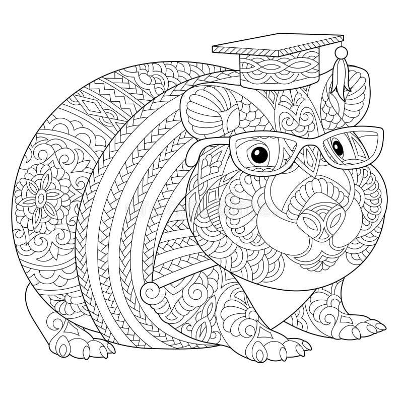 Página da coloração da cobaia de Zentangle ilustração do vetor