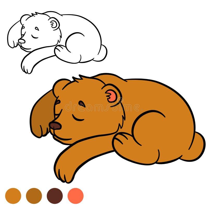Página da coloração Colora-me: urso Urso bonito pequeno do bebê ilustração do vetor
