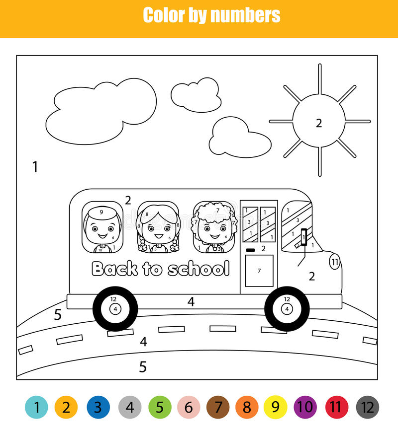Página da coloração com as crianças no ônibus escolar Colora pelo jogo educacional das crianças dos números, de volta ao tema da  ilustração stock