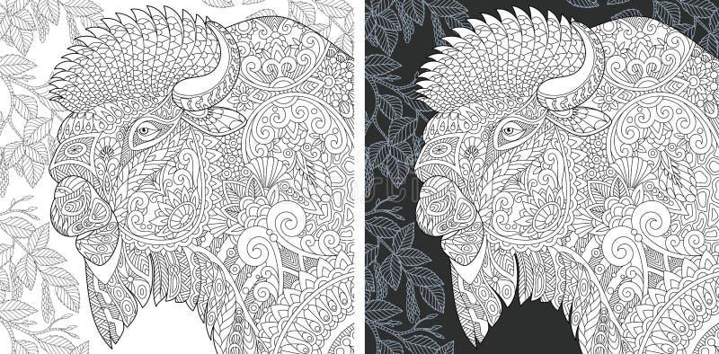 Página da coloração com bisonte ilustração royalty free