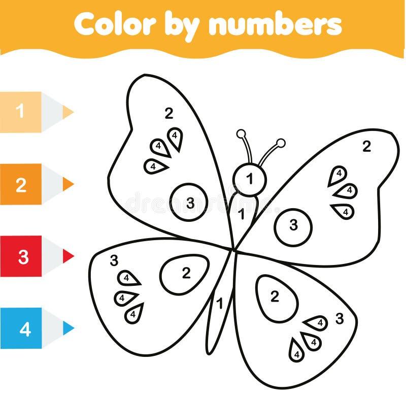 Página da coloração com borboleta A cor pelo jogo educacional das crianças dos números, tirando caçoa a atividade ilustração royalty free