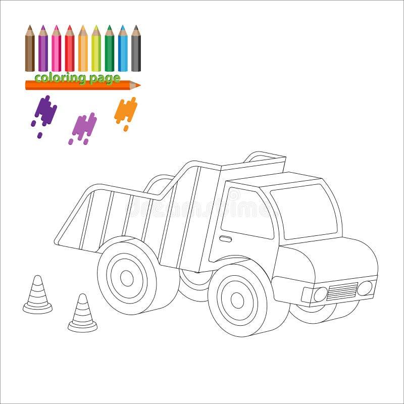 Página da coloração com caminhão grande ilustração do vetor