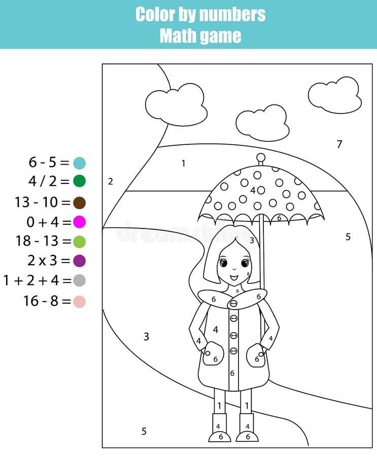 Página da coloração com menina Colora pelo jogo da matemática dos números ilustração stock