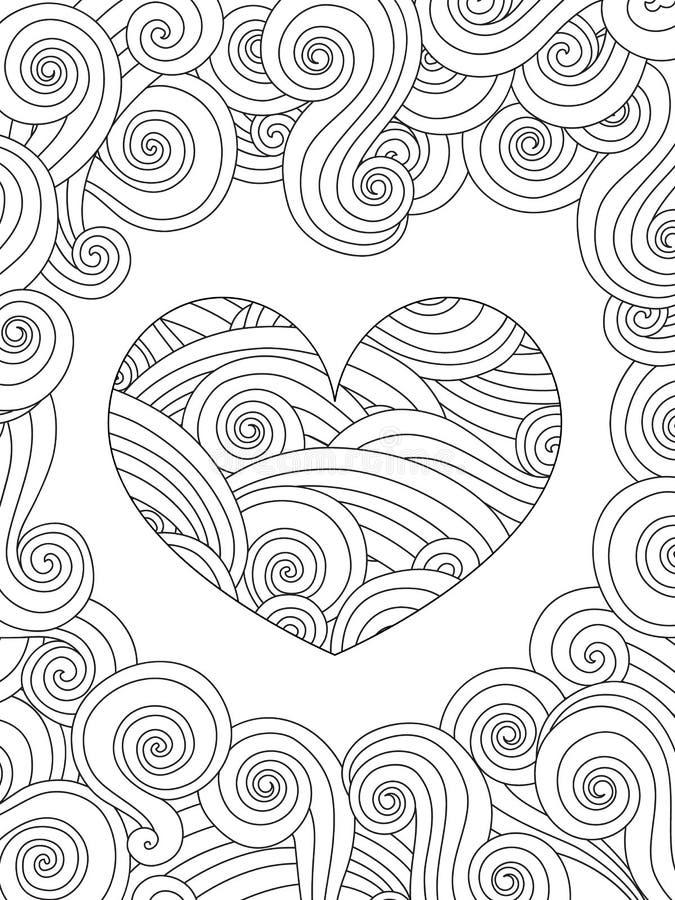 Página da coloração com o ornamento encaracolado do coração e da onda ilustração do vetor