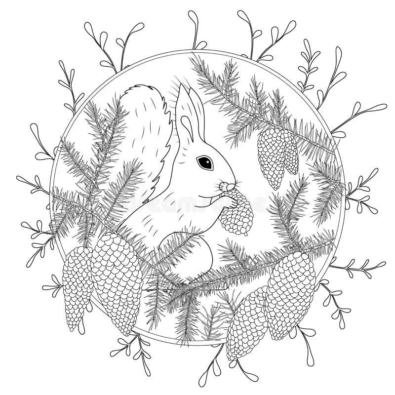 Página da coloração com os detalhes altos isolados no fundo branco Esboço do monochrome do vetor Coleção da natureza ilustração royalty free
