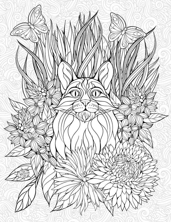 Página da coloração com um lince ilustração stock