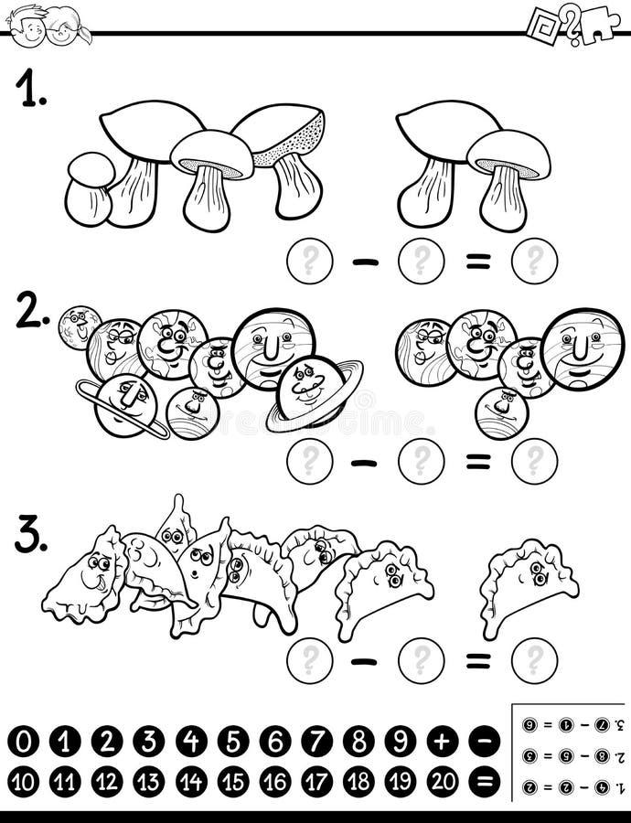 Página da coloração da atividade das matemáticas da subtração ilustração royalty free