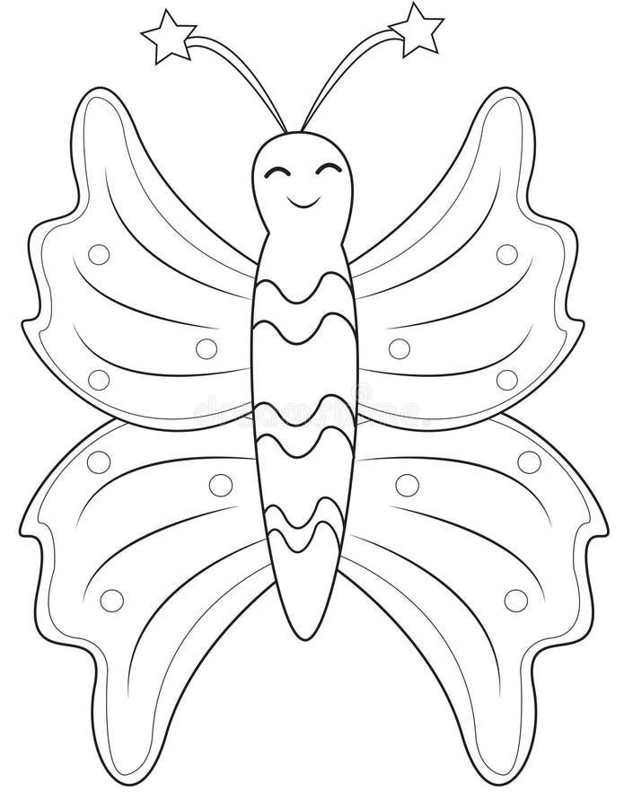 Página da coloração da borboleta ilustração royalty free