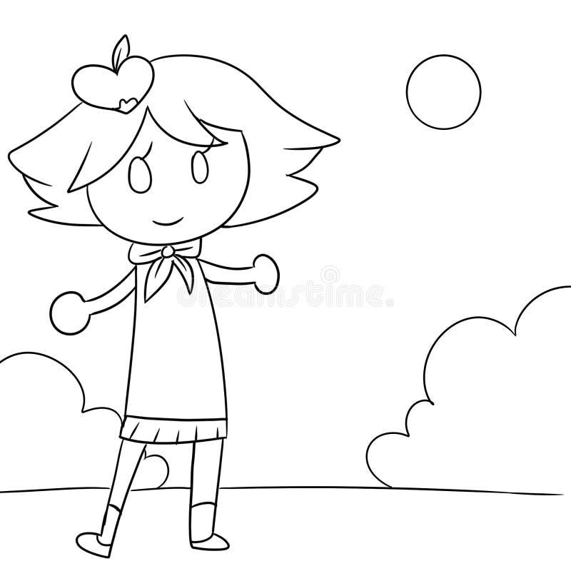 Página da coloração da menina ilustração royalty free