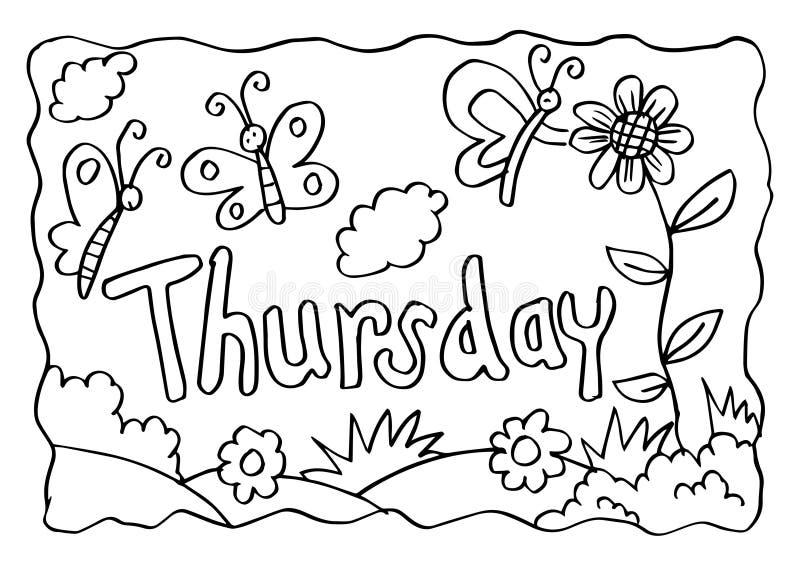 Página da coloração de quinta-feira com borboletas ilustração stock