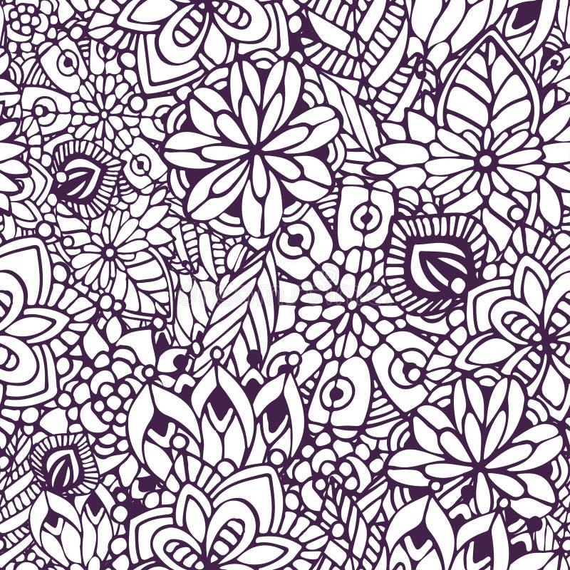 Página da coloração de Zentangle Teste padrão sem emenda da garatuja no vetor Fundo floral criativo para seu projeto, papel de en ilustração do vetor