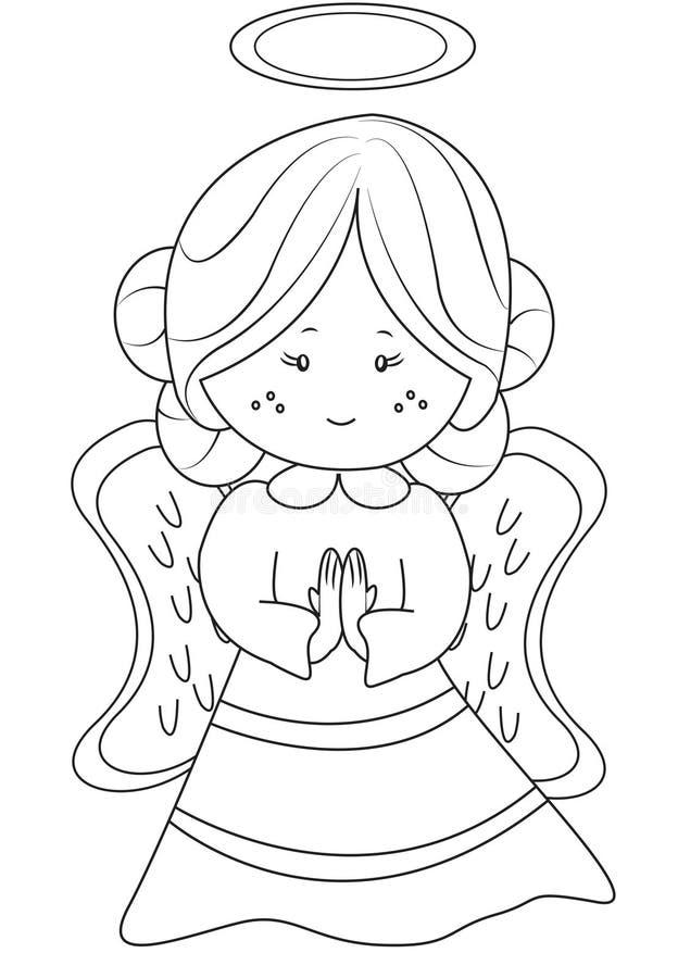 Página da coloração do anjo ilustração royalty free