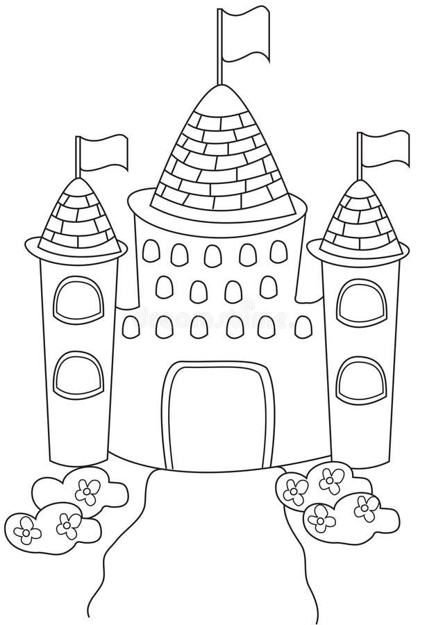 Página da coloração do castelo ilustração stock