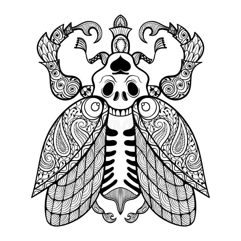 Página da coloração do erro com crânio ilustração royalty free