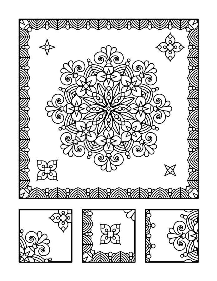 Página da coloração e enigma visual para adultos ilustração do vetor