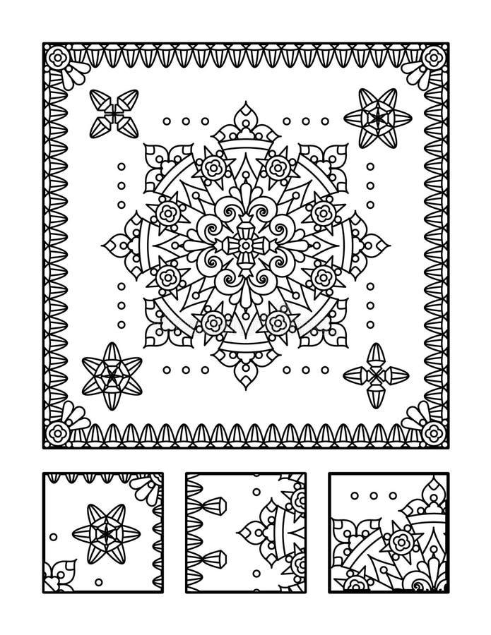 Página da coloração e enigma visual para adultos ilustração stock