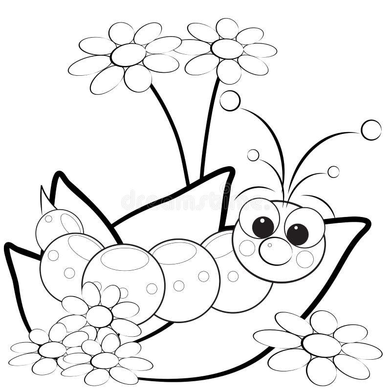 Página da coloração - Grub e flores ilustração royalty free