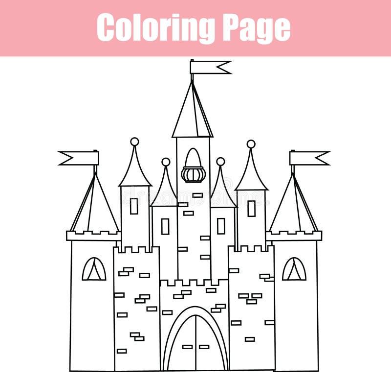 Página da coloração Jogo educacional das crianças Castelo feericamente O desenho caçoa a atividade imprimível ilustração do vetor