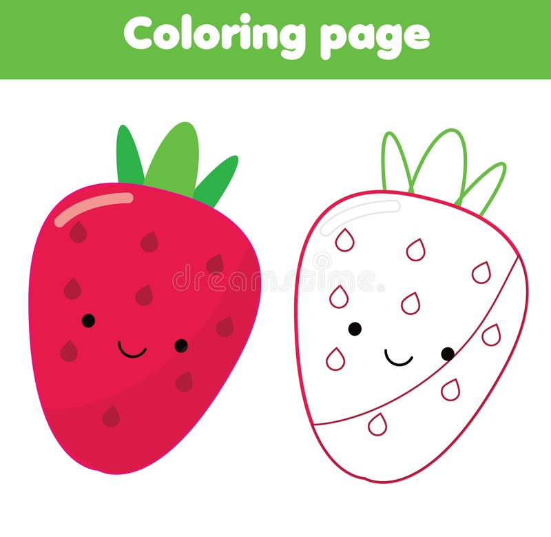 Página da coloração Jogo educacional das crianças Morango bonito O desenho caçoa a atividade imprimível ilustração royalty free