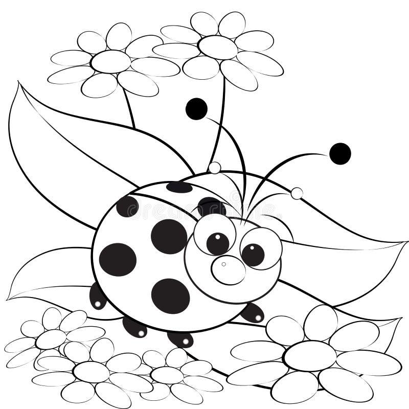 Página da coloração - Ladybug e margarida ilustração stock