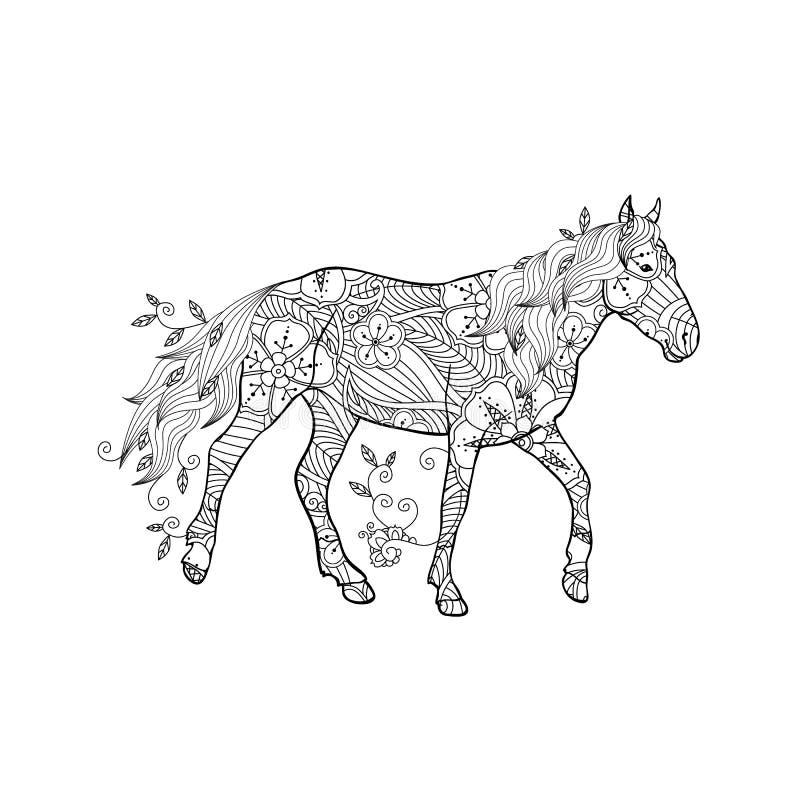 A página da coloração no zentangle inspirou o estilo Cavalo running ornamentado pelas flores e pelas folhas isoladas no fundo bra ilustração stock