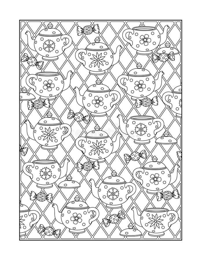 Página da coloração para adultos, ou fundo decorativo preto e branco ilustração do vetor