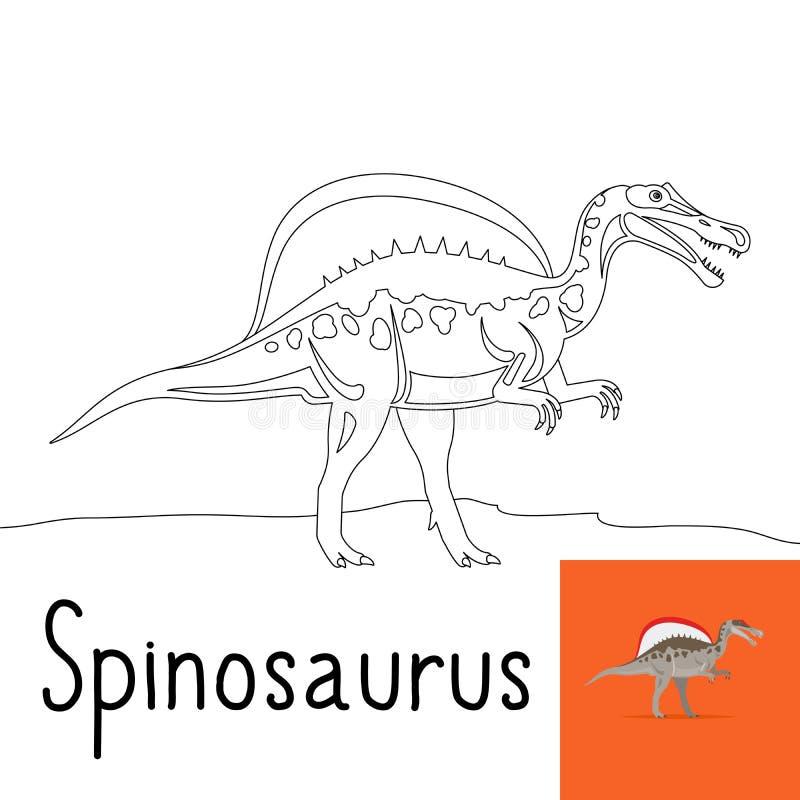 Página da coloração para crianças com Spinosaurus ilustração stock