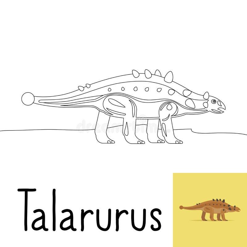 Página da coloração para crianças com Talarurus ilustração stock