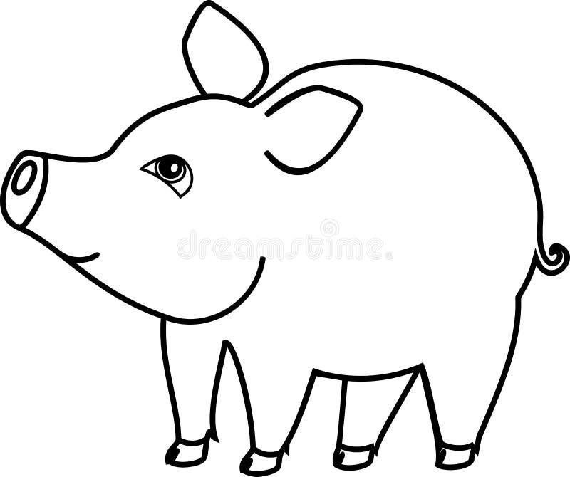 Página da coloração Porco bonito dos desenhos animados no fundo branco ilustração do vetor