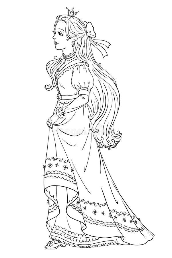 Página da coloração da princesa do conto de fadas ilustração royalty free