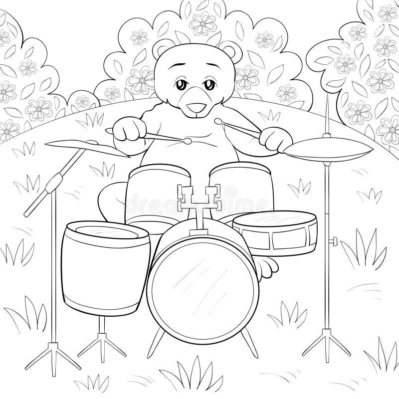 A página da coloração, registra uma imagem de jogo bonito para crianças, linha ilustração do urso do estilo da arte para relaxar ilustração stock