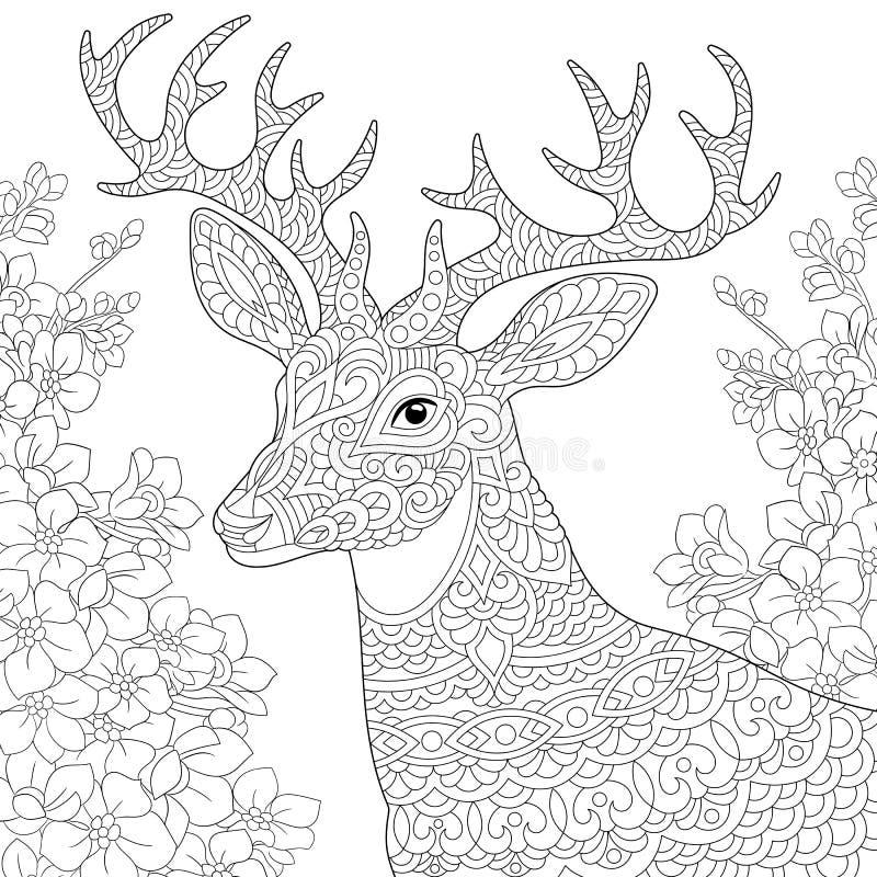 Página da coloração da rena dos cervos de Zentangle ilustração do vetor