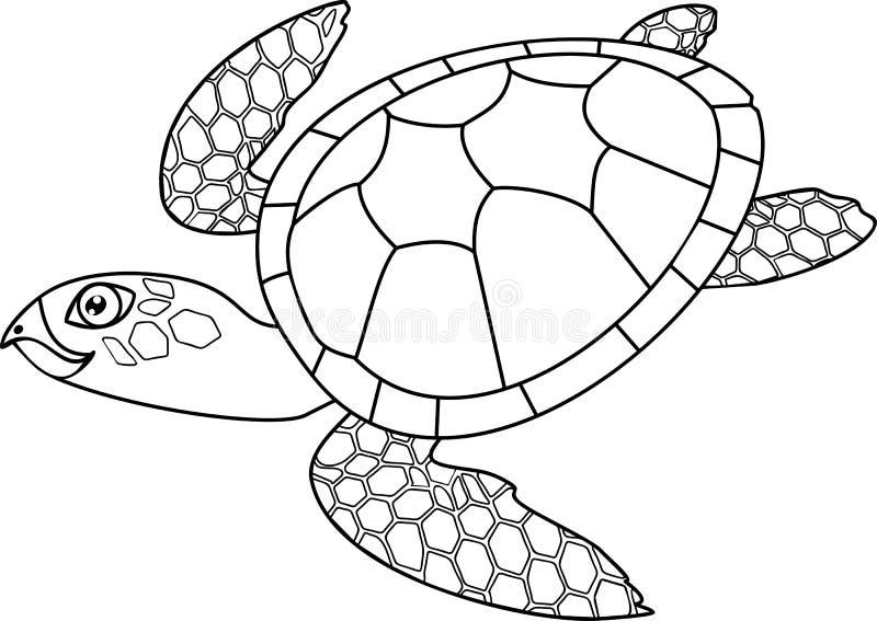 Página da coloração Tartaruga de mar bonito adulta da natação dos desenhos animados ilustração royalty free