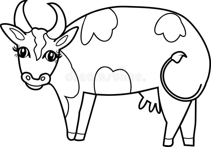 Página da coloração Vaca bonito dos desenhos animados com pontos ilustração stock