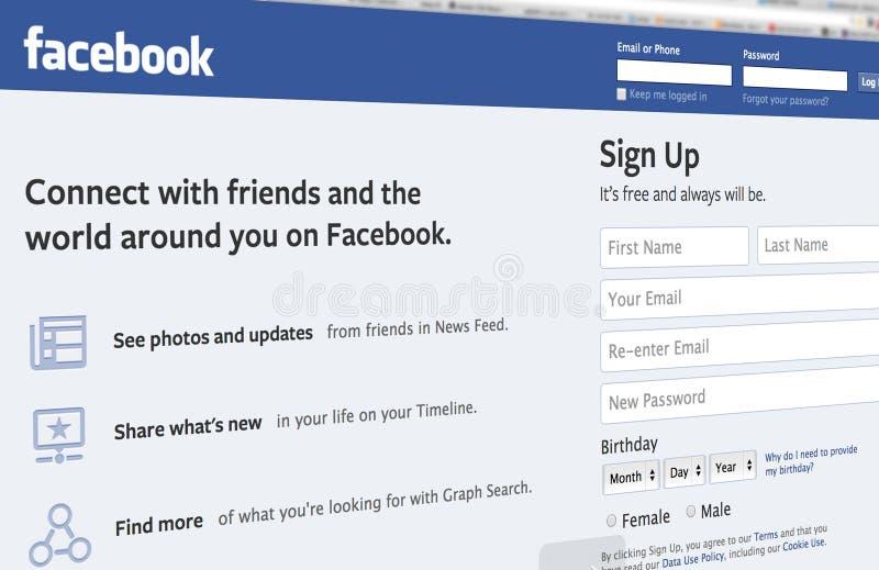 Página da entrada de Facebook ilustração stock