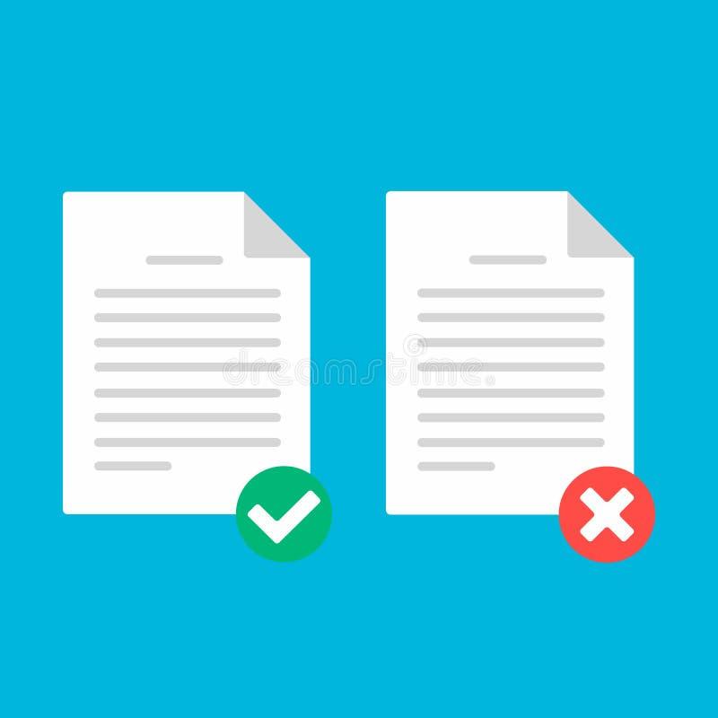Página da folha do papel do documento com formulário de reclamação, tiquetaque da marca de verificação, ilustração do vetor do si ilustração stock