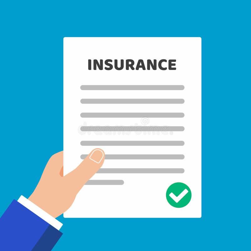 Página da posse da mão do papel com o formulário de crédito de seguro a completar, o texto e o tiquetaque da marca de verificação ilustração royalty free