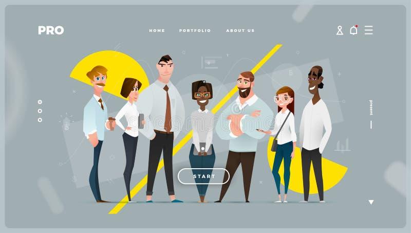 Página da web abstrato principal com caráteres do negócio dos desenhos animados foto de stock