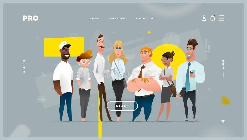 Página da web abstrato principal com caráteres do negócio dos desenhos animados imagem de stock