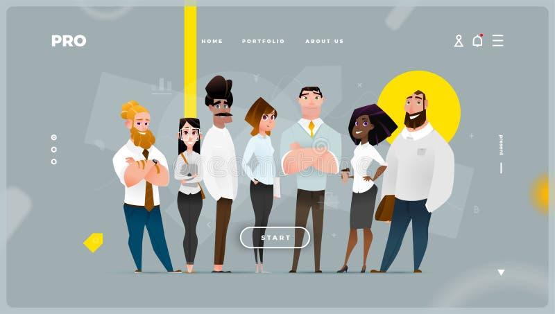 Página da web abstrato principal com caráteres do negócio dos desenhos animados imagens de stock royalty free