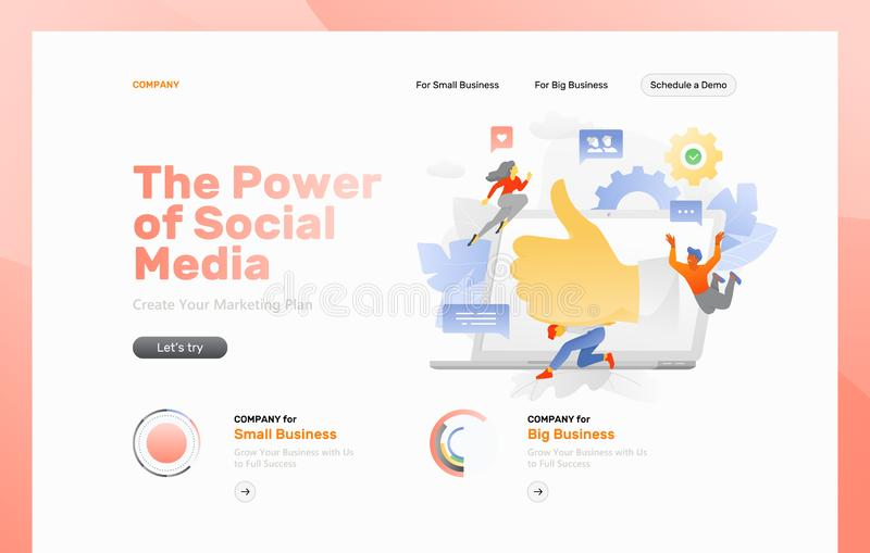 Página da web de mercado dos meios sociais ilustração royalty free
