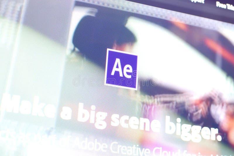 Página da Web do adobe after effects no site oficial na tela do PC imagens de stock royalty free