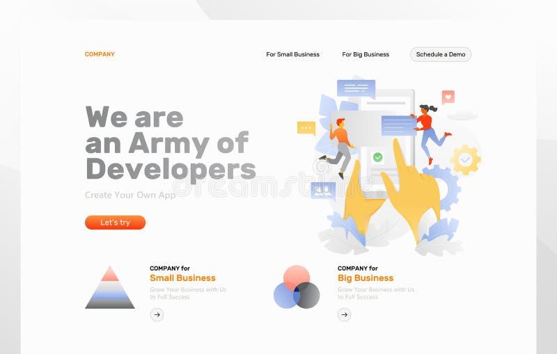 Página da web do desenvolvimento do App ilustração royalty free