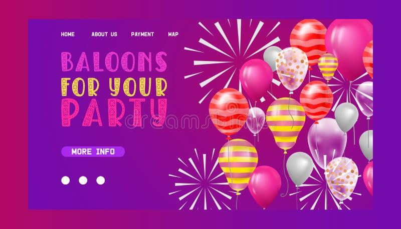 Página da web do vetor de Ballooon que comemora o contexto feliz da decoração do feriado do nascimento das crianças dos desenhos  ilustração royalty free