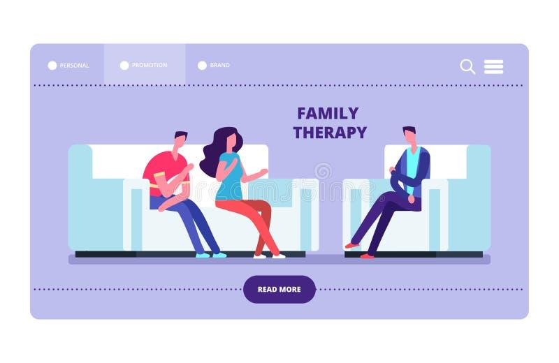 Página da web do vetor da terapia de família Esposa e marido no psychotherapist ilustração do vetor
