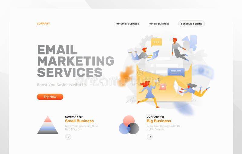 Página da web dos serviços de e-mail ilustração royalty free